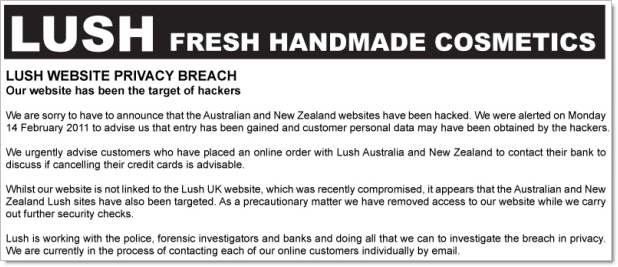 Site da Lush na Austrália e Nova Zelândia atacados