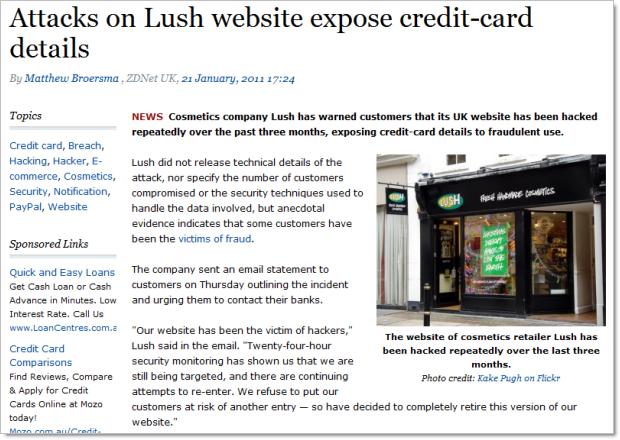 Site da Lush no Reino Unido hackeado e dados de cartões de crédito expostos