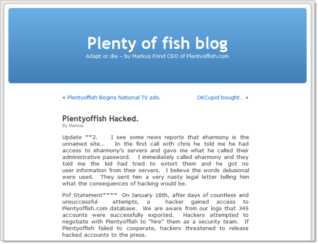 Site Plenty of Fish hackeado