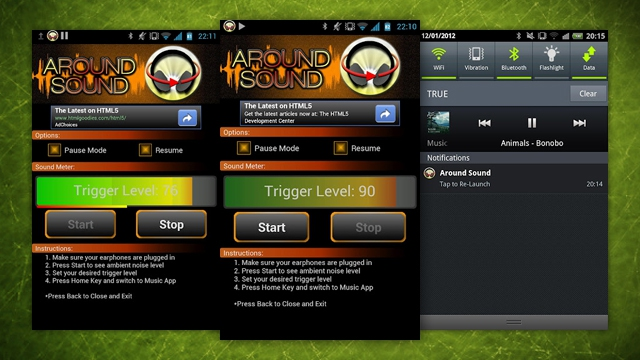 Três capturas de tela do app Around Sound para Android