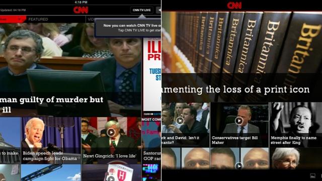 App da CNN para Android e iPad.