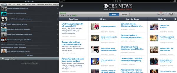 CBS News em tablets.