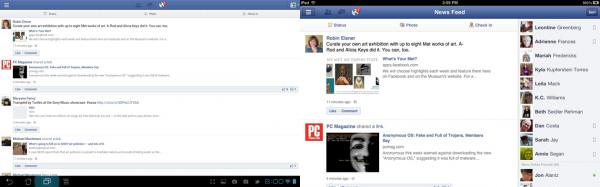 Facebook em tablets.