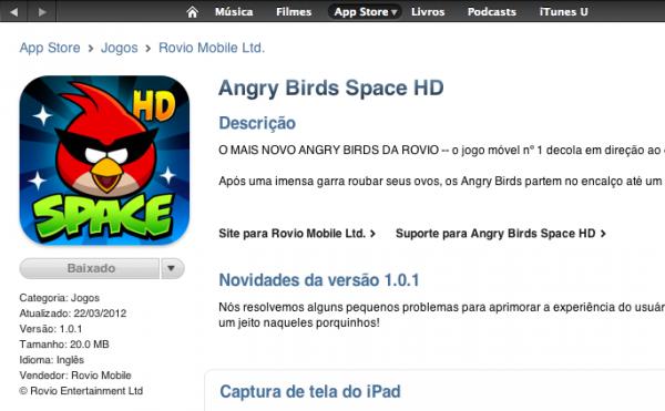 Angry Birds Space comprado na App Store BR.