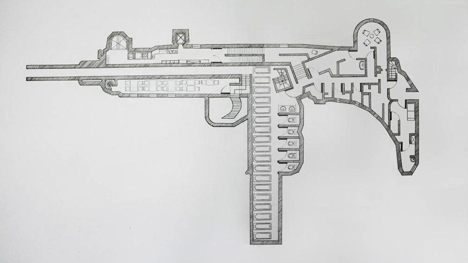 Planta de uma arma.