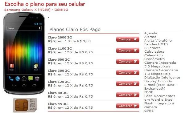 Galaxy X barato na Claro.