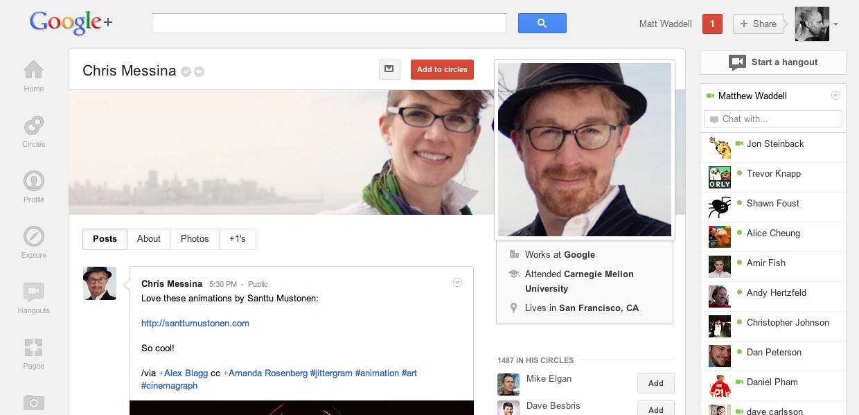 Perfil no novo Google+.