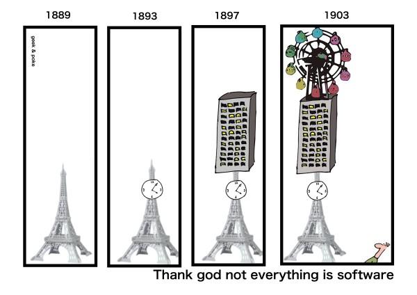 Se tudo fosse software, por Geek And Poke.