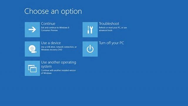 Novo menu de boot do Windows 8.