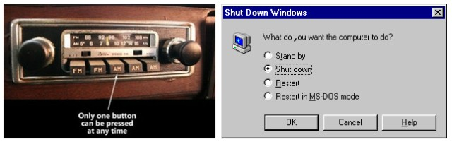 Ícones de botões radiais para caixas de seleção exclusivas.