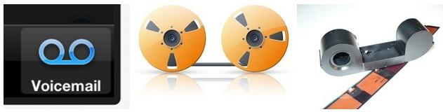 Ícone de fita de bobina para correio de voz.