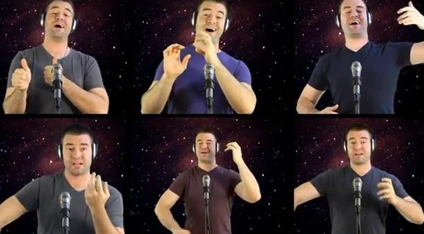Nick McKaig cantando o tema de Star Wars.