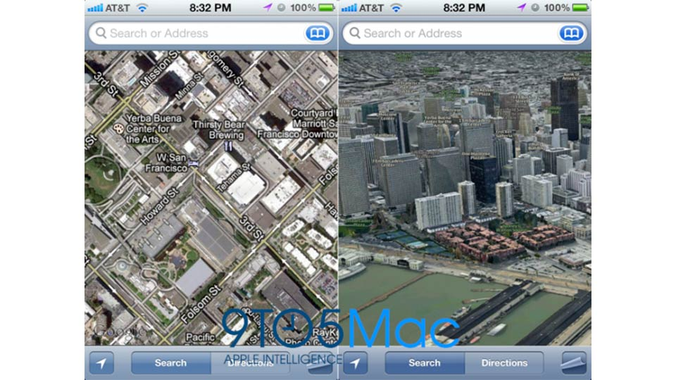 Modo 3D no novo Mapas do iOS 6.