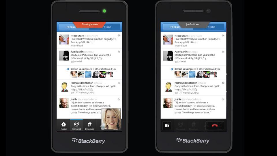 Compartilhamento de tela no BlackBerry 10.