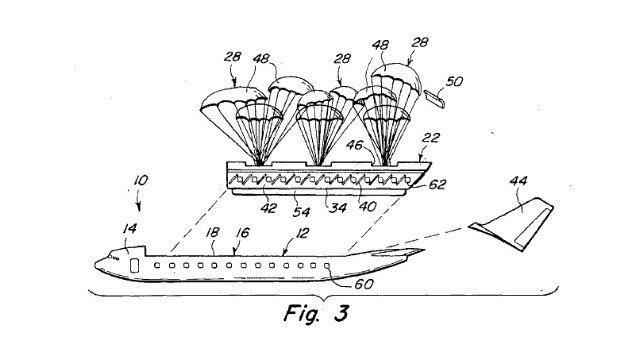 Desenho de patente para cápsula de escape comercial