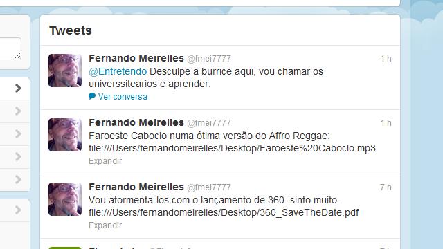 Fernando Meirelles muito louco no Twitter.