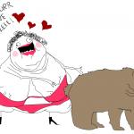 Mãe do cara do FunnyJunk seduzindo um urso.