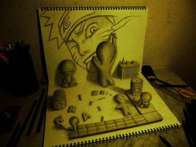 Bonecos desenhando o Naruto.
