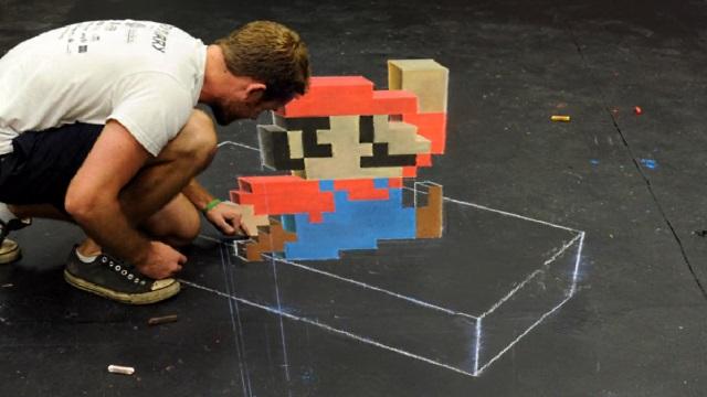 Chris Carlson faz Mario de giz no asfalto