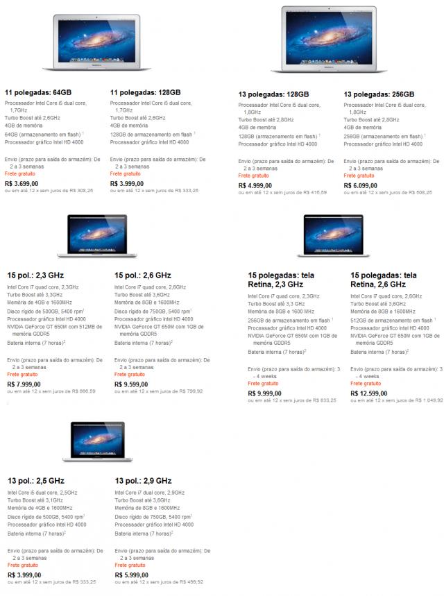 Novos preços dos MacBooks.