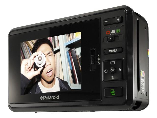 Controles e viewfinder da câmera da Polaroid.