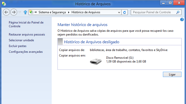 Histórico de Arquivos no Windows 8
