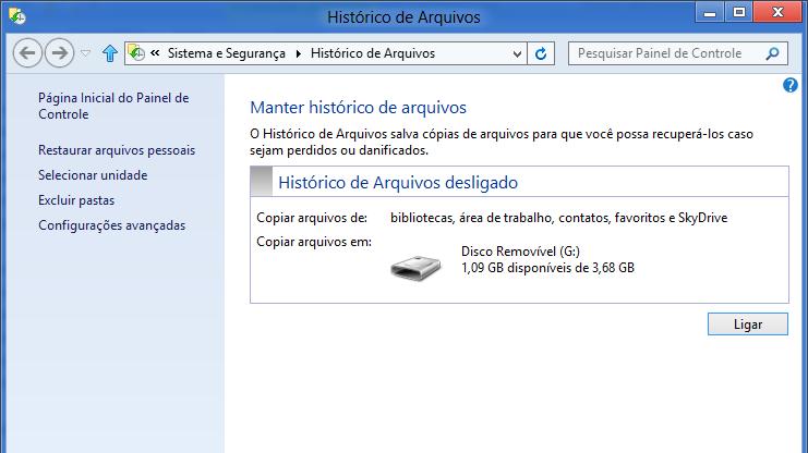 Histórico de Arquivos no Windows 8