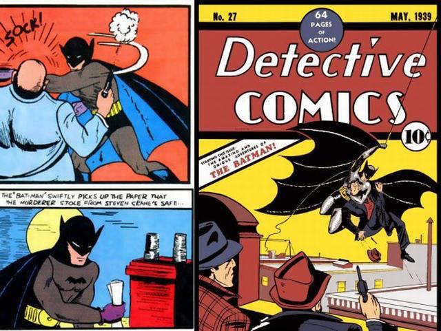 A primeira aparição do Batman, em 1939.