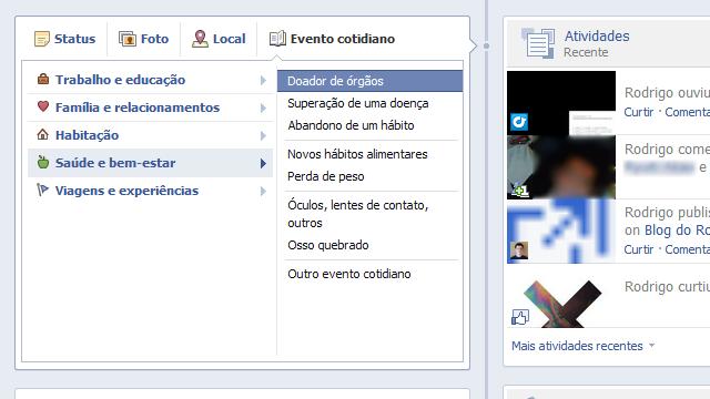 Doação de órgãos no Facebook.