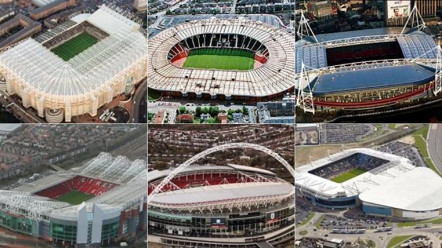 Estádios de futebol.