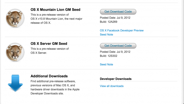 Gold Master do Mountain Lion já está disponível
