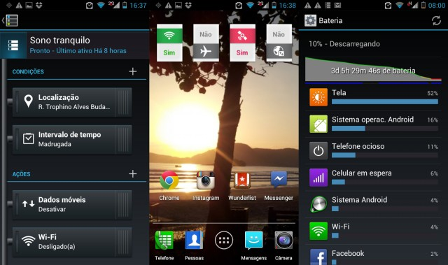 Smart actions, homescreen e bateria.