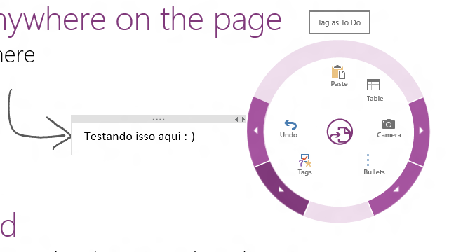 Menu circular suspenso do OneNote MX.