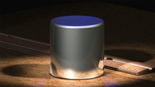 Renderização do cilindro de platina e irídio