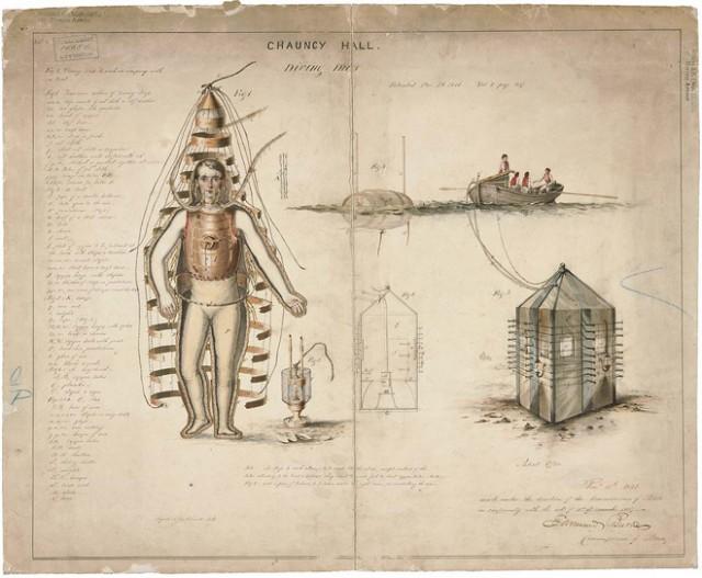 Traje de mergulho, 1810.