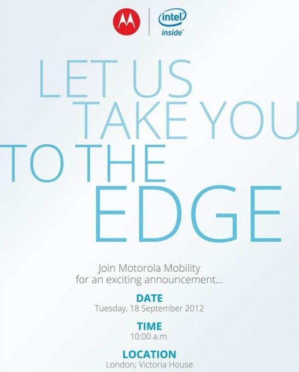 Convite da Motorola e Intel para evento no final de setembro.