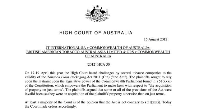Decisão da justiça australiana.