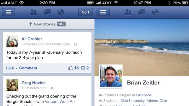 Novo Facebook do iOS.