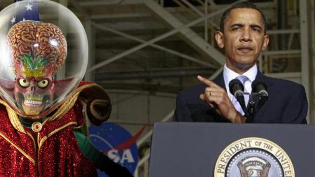 Um marciano e Barack Obama.