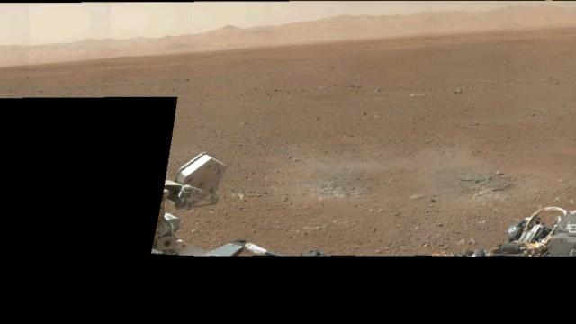 Mais marcas do guindaste aéreo que ajudou a aterrissar o Curiosity em Marte.