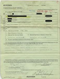 Petição do processo.