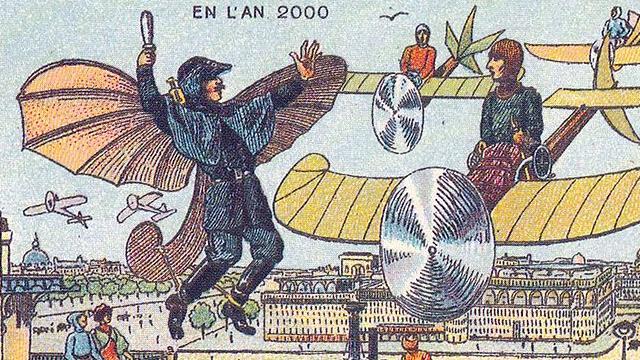Polícia aérea no futuro imaginado pelos franceses em 1900.