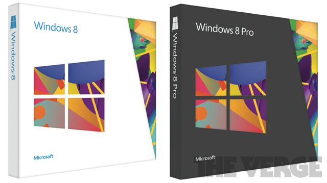 Caixas do Windows 8.