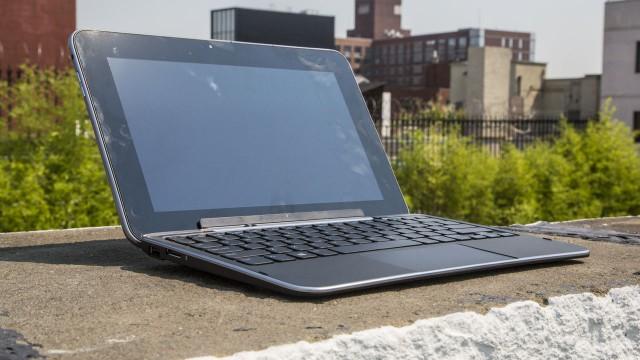 Parece um notebook, mas é um tablet.