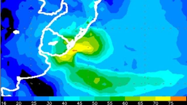 Área potencialmente a ser atingida pelo ciclone.