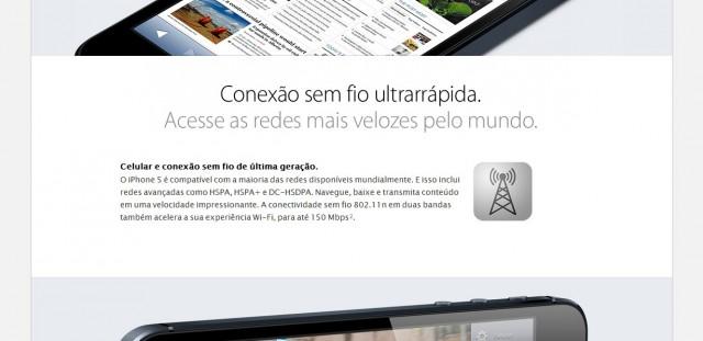 Nada de LTE na página brasileira do iPhone 5.