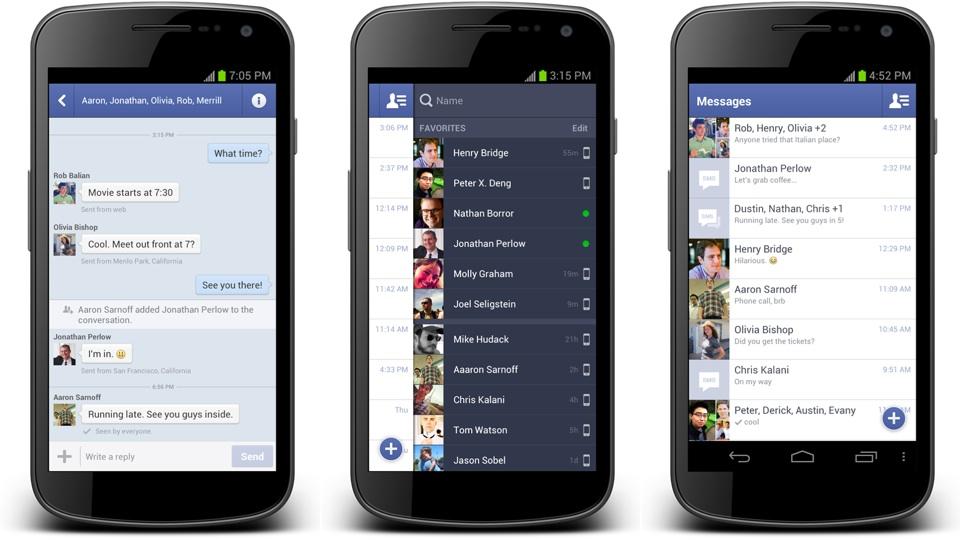 Novos apps do Facebook para Android.