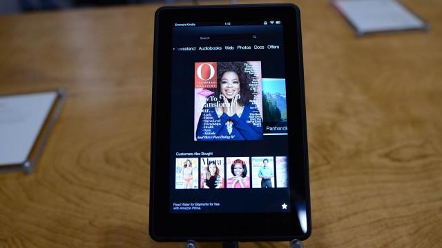 Revistas no Kindle Fire HD.