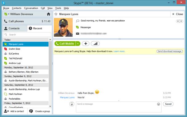 Skype 5.11: mais parecido com o Windows 8.