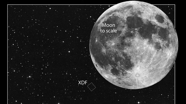 XDF em escala com a Lua.